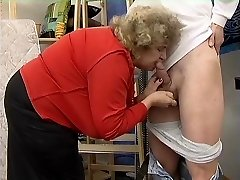 Chubby Grannie in Stockings Fucks the Fellow