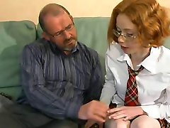 Nerdy Redhead Coaxes A Load From Old Dude