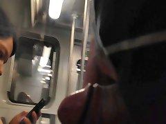 Cum flash on train