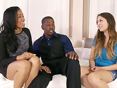 Long-haired pretty white girl welcome in house Black Couple