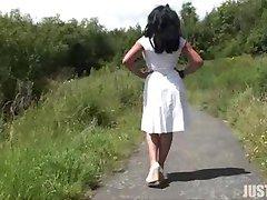 Sexy Danica Outdoors Walking
