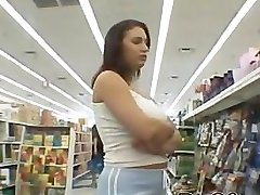 Blowjob giveaway at the supermarket