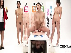 Subtitled crazy Japan sarcophagus glory hole game show
