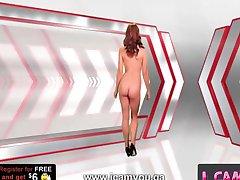 ingefära flickan ger striptease till en klient på webbkamera