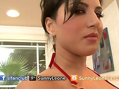 Sunny Leone In Red Bikini In Bathroom