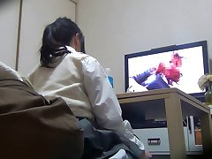 Peeping house  Spank the monkey while watching a Porn DVD