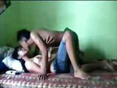 Asian teen couple in different position