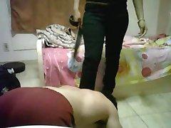 Man bitch worships a woman's feet
