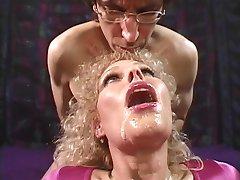 Mature blond loves getting her round titties sucked