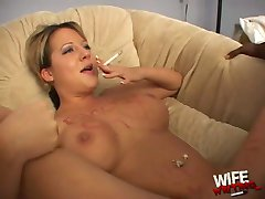 Smoking amateur white wife owned by black on casting couch