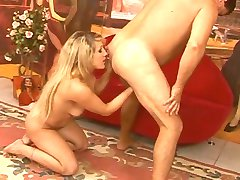 Rimming - Girl licking ass of older man