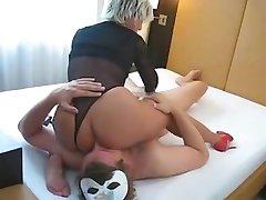 Milf gives handjob and receives oral