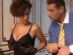 Glamorous French babe milks a big cock!