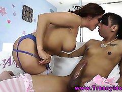 Tranny shemale giving head to latina ts