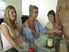 Three Moms Jerking Cock