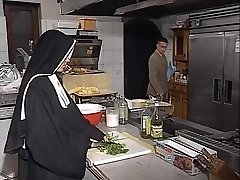 German nun ass-fucked in kitchen