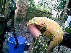 Bangla desi shameless village nephew-Nupur bathing outdoor
