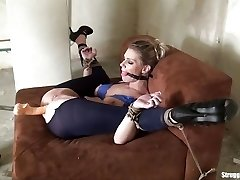 Ally roped 3 ways dildoed vibed machine-romped