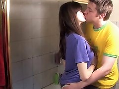 Guy fuck his hairy girlfriend in the bathroom