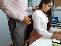 hot dark haired assistant playing in office 1