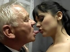Horny brunette shag two old man
