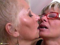 Perfect mature mothers at lesbian three-way