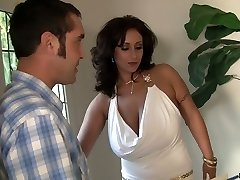 Hefty boobed MILF Eva Notty rimming her man before hardcore fuck