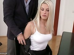 Secretary Blanche Bradburry gives blow-job and gets her trimmed puss fucked