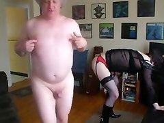 Twenty-one year old crossdresser obeying daddy