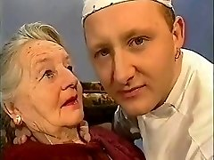 Very aged lady gets kissed