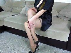 Jizz on legs in stockings StepSister