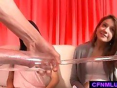 Girls measure dick in penis pump during CFNM showcase