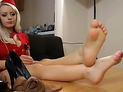 pretty blonde with sizzling legs and feet