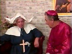 Priest whipping hefty nun's ass
