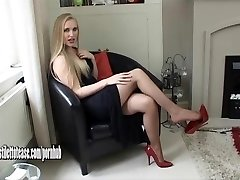 Hot youthful blonde dressed in sexual and very erotic high heel shoes