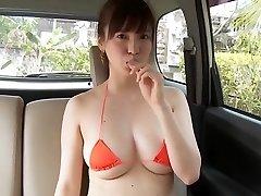 Shizuka Matsubara - Sexy Orange Bikini Girl Washing Car