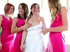 Charming bride takes part in steamy foursome lesbian sex