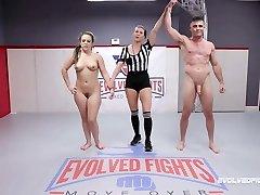 Carmen Valentina vs Lance Hart in mixed nude wrestling struggle