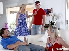Awesome chick Sarah Vandella arranges dirty sex party at home