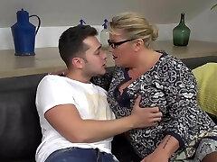 Desperate mother seduce and smash lucky son