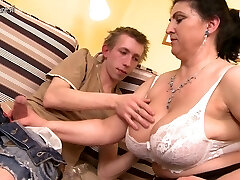 Gorgeous mother fucked hard by young boy and bursts