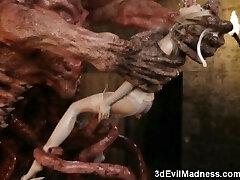 3D Terrifying Aliens Fuck Poor Girls!
