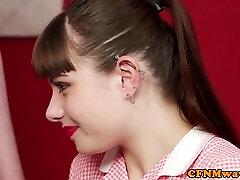 Busty cfnm teacher shows teen how to tug gimp