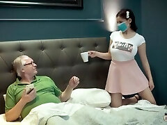 Chesty young thing under quarantine with old grandpa