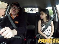 Fake Driving School Rough back seat tear up for petite infatuated learner