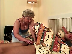 She finds him doggy-fucking old mom inlaw