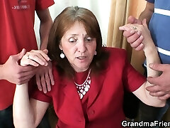 Pulverizing busty granma in stockings from both sides