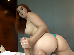 Blue witnessed redhead honey Angell Summers swallows thick cock on POV video