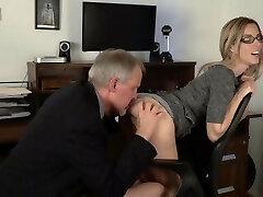 Unqualified secretary gets her rump eaten by older boss