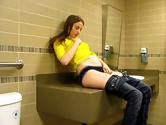 Masturbation in a public washroom